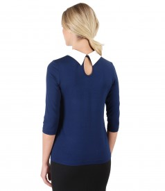 Elastic jersey blouse with crystals