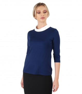 Elastic jersey blouse with  Swarovski crystals