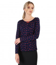 Blouse with long sleeve and rips band on decolletage