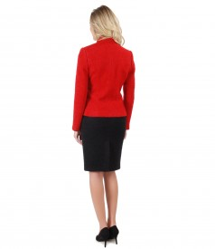 Office women suit with jacket and skirt made of alpaca and wool loops