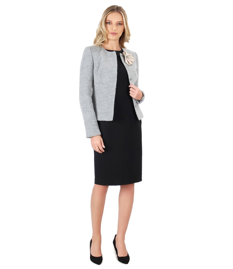 Elegant outfit with elastic jersey dress and jacket made of wool and alpaca loops