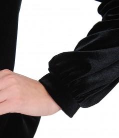 Jacket made of black elastic velvet