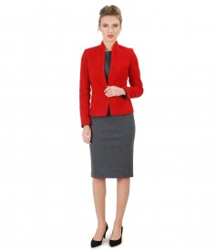 Office suit with elastic jersey dress and jacket made of loops