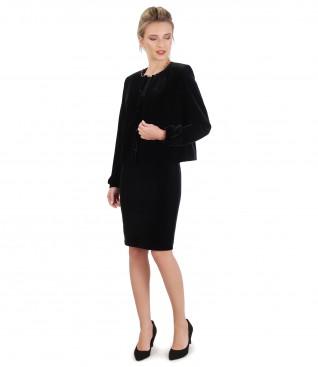 Dress and jacket made of black elastic velvet
