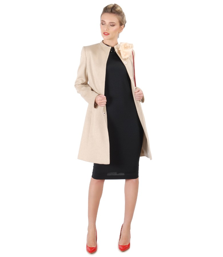 Jacket made of wool and cotton and midi dress with tunic collar