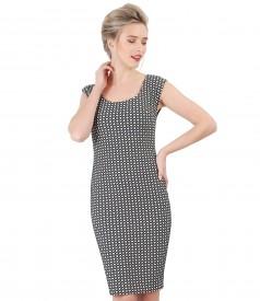 Dress made of brocade cotton with Swarovski pearls