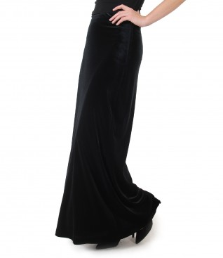 Long elastic velvet skirt