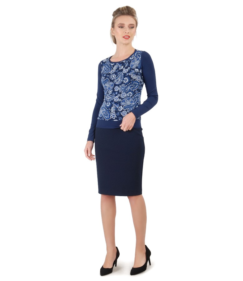 Tapered skirt made of elastic jersey with blouse with long sleeves and floral print