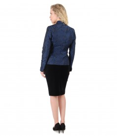 Elastic velvet skirt with brocade jacket with floral motifs