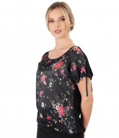 Veil blouse with floral print