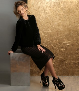 Elegant outfit with elastic velvet jacket and dress with crystals