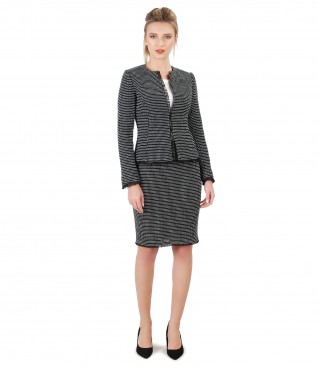 Office woman suit with jacket and skirt made of cotton loops
