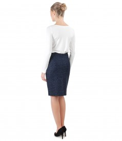 Blouse with long sleeves and tapered skirt made of loops with effect thread