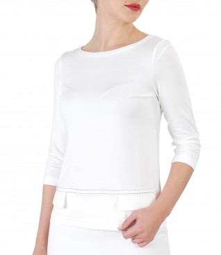 Elastic jersey blouse with 3/4 sleeve