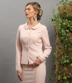 Elegant jacket with veil trim at sleeves
