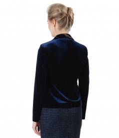 Elegant black stretch velvet jacket