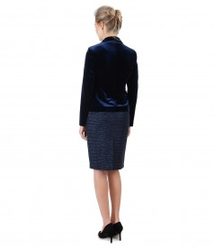 Evening outfit with velvet jacket and tapered skirt with loops