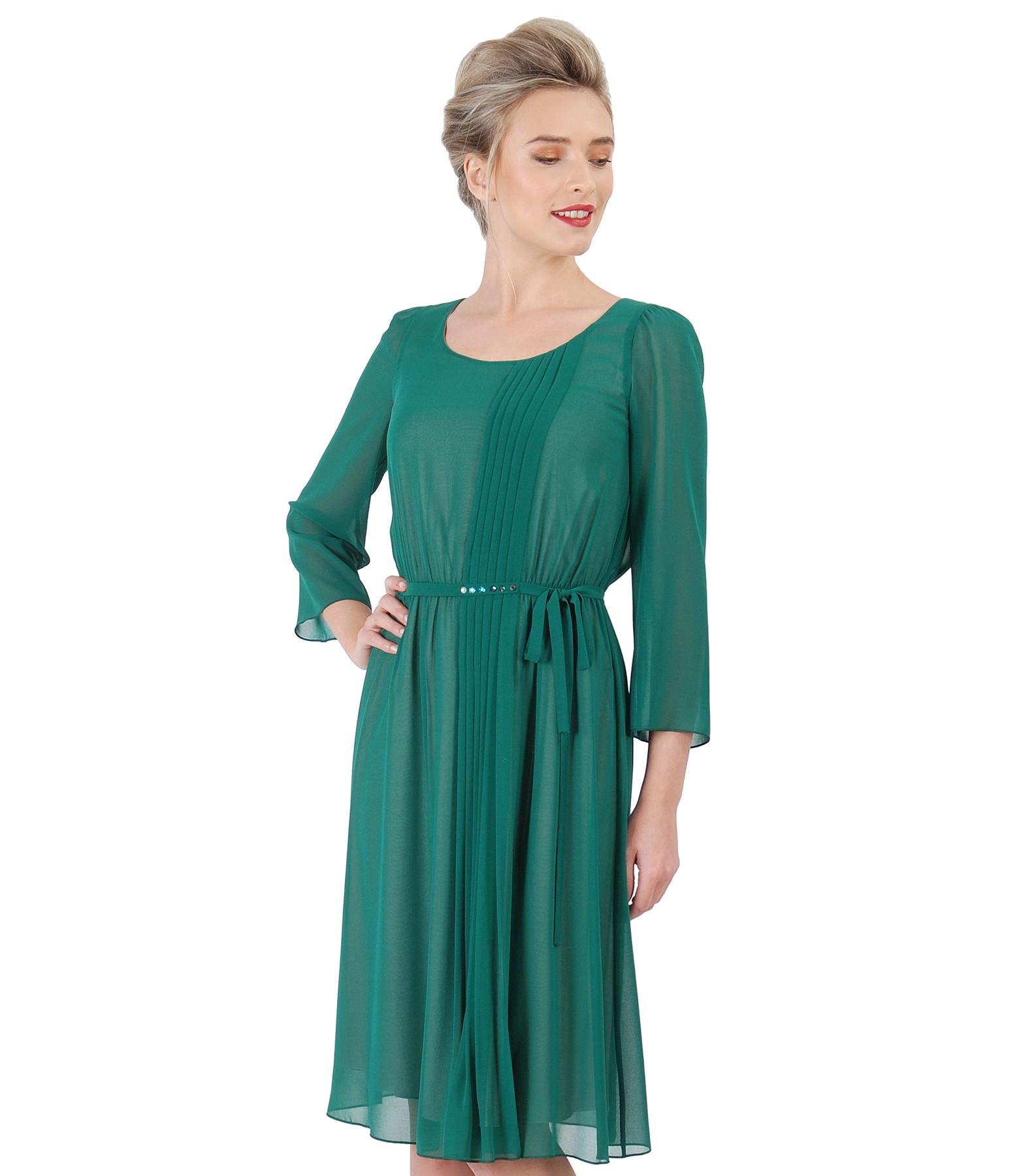 Veil evening dress with Swarovski crystals on the belt green - YOKKO