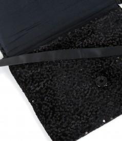 Velvet clutch bag with sequins