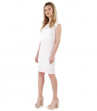Midi fabric dress with metallic thread