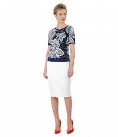 Office skirt made of elastic fabric and printed jersey blouse
