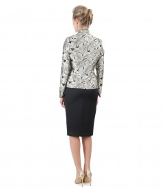 Brocade jacket with floral motifs and skirt with front fold