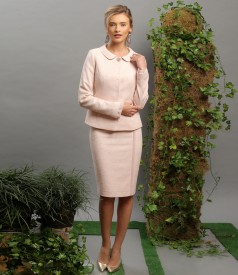 Office womens suit with jacket and skirt with veil trim