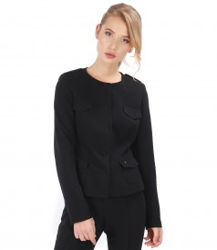 Black office jacket made of elastic fabric with lapels and pockets