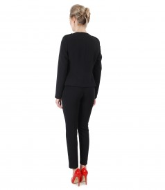Office outfit with jacket and elastic fabric pants