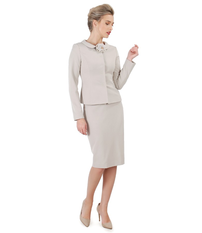 Office women suit with jacket and elastic fabric skirt
