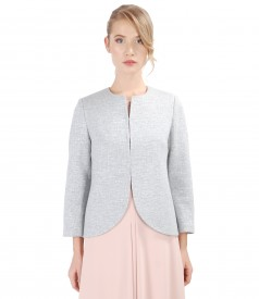 Cotton jacket with effect thread and crystals