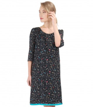 Veil dress with floral print