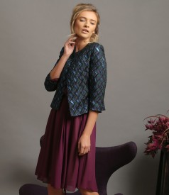 Elegant outfit with veil dress and brocade jacket