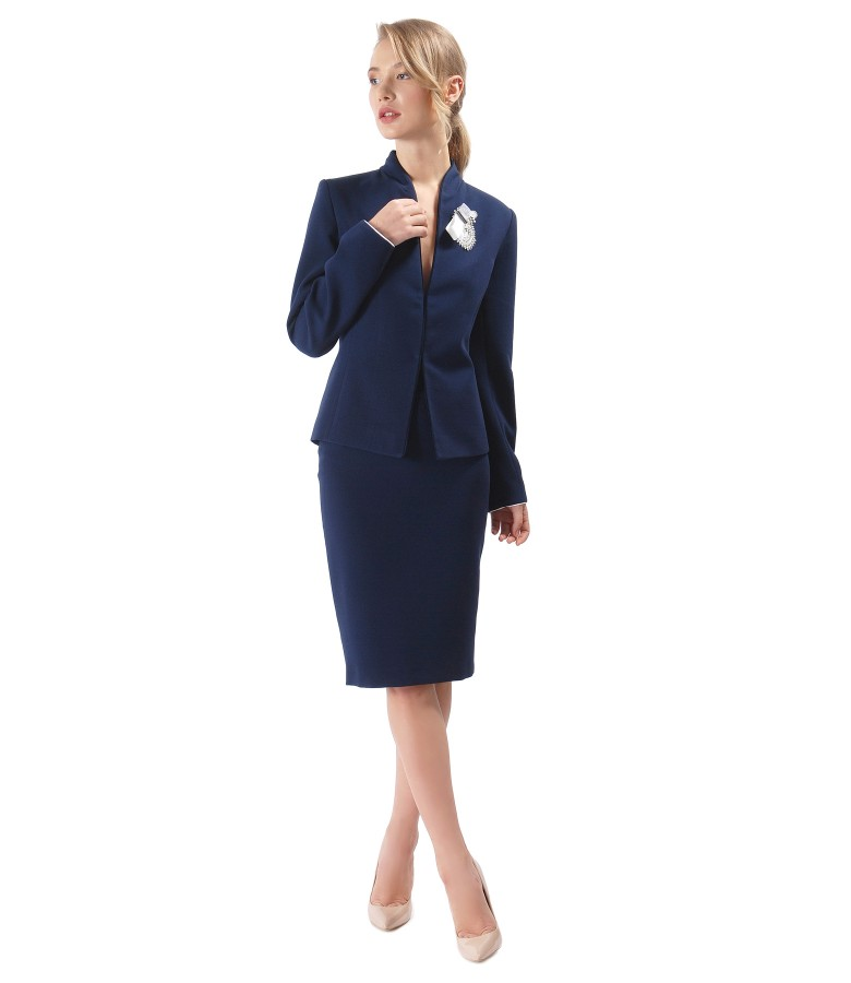 Office woman suit with jacket and navy elastic fabric skirt