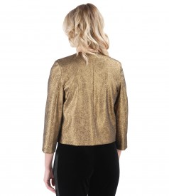 Elegant jacket made of elastic cotton with metallic applications