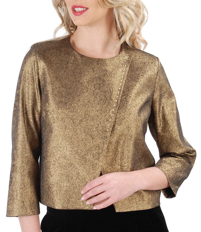 Elegant jacket made of elastic cotton with Swarovski metallic applications