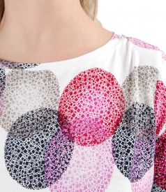 Printed jersey blouse with rips bow