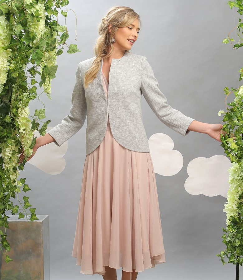 Elegant outfit with cotton jacket and veil dress