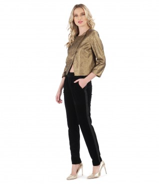 Elegant jacket with metallic inserts and black velvet pants