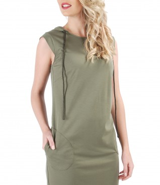 Elastic jersey dress with hood