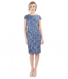 Elastic brocade jersey dress with geometric motifs
