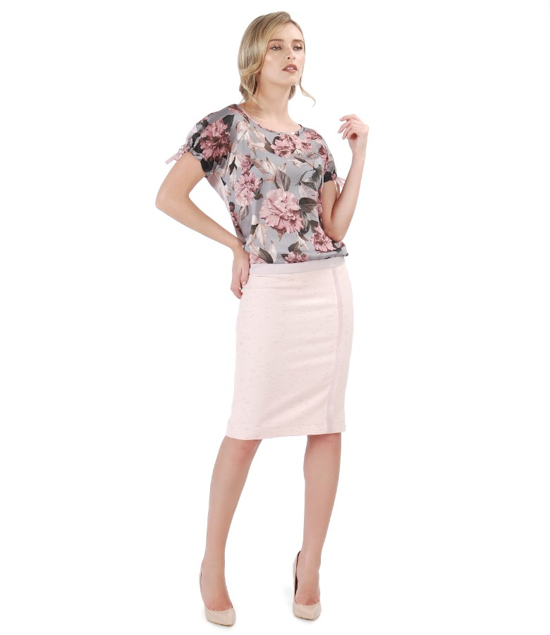 Blouse with floral print veil and tapered skirt