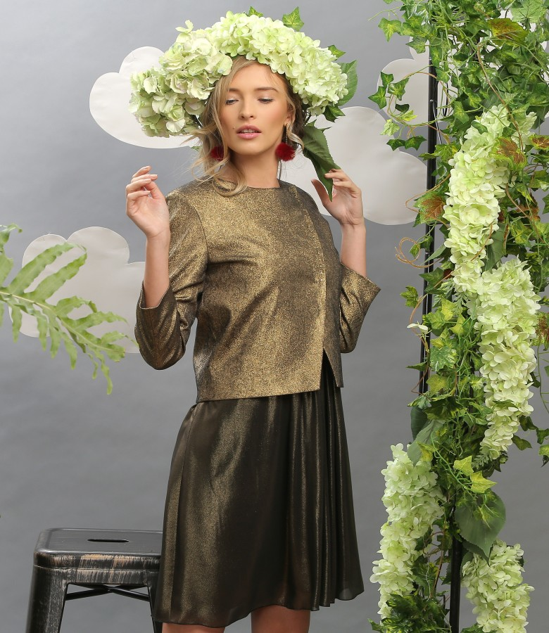 Elegant outfit with elastic cotton jacket and veil dress