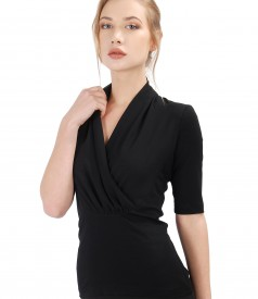 Elastic jersey blouse with veil collar