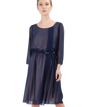Veil evening dress with Swarovski crystals on the belt