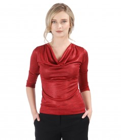 Uni jersey blouse with folds