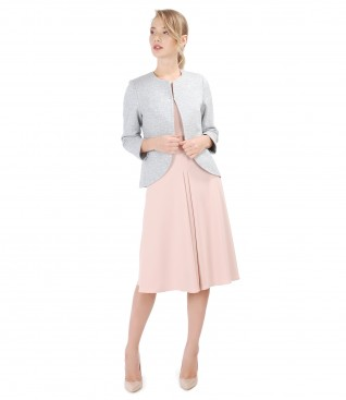 Cotton jacket with effect thread and elastic fabric dress