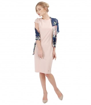 Elegant outfit with midi elastic jersey dress and printed veil scarf