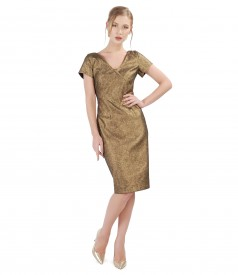 Elegant elastic cotton dress with metallic Swarovski applications