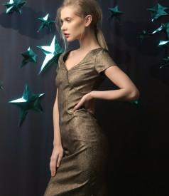 Elegant elastic cotton dress with metallic applications
